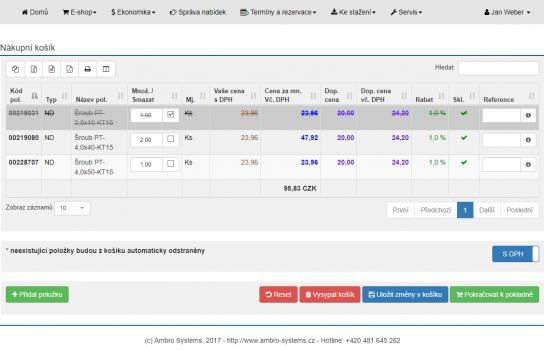 Ukázka webové aplikace – Portál Areus